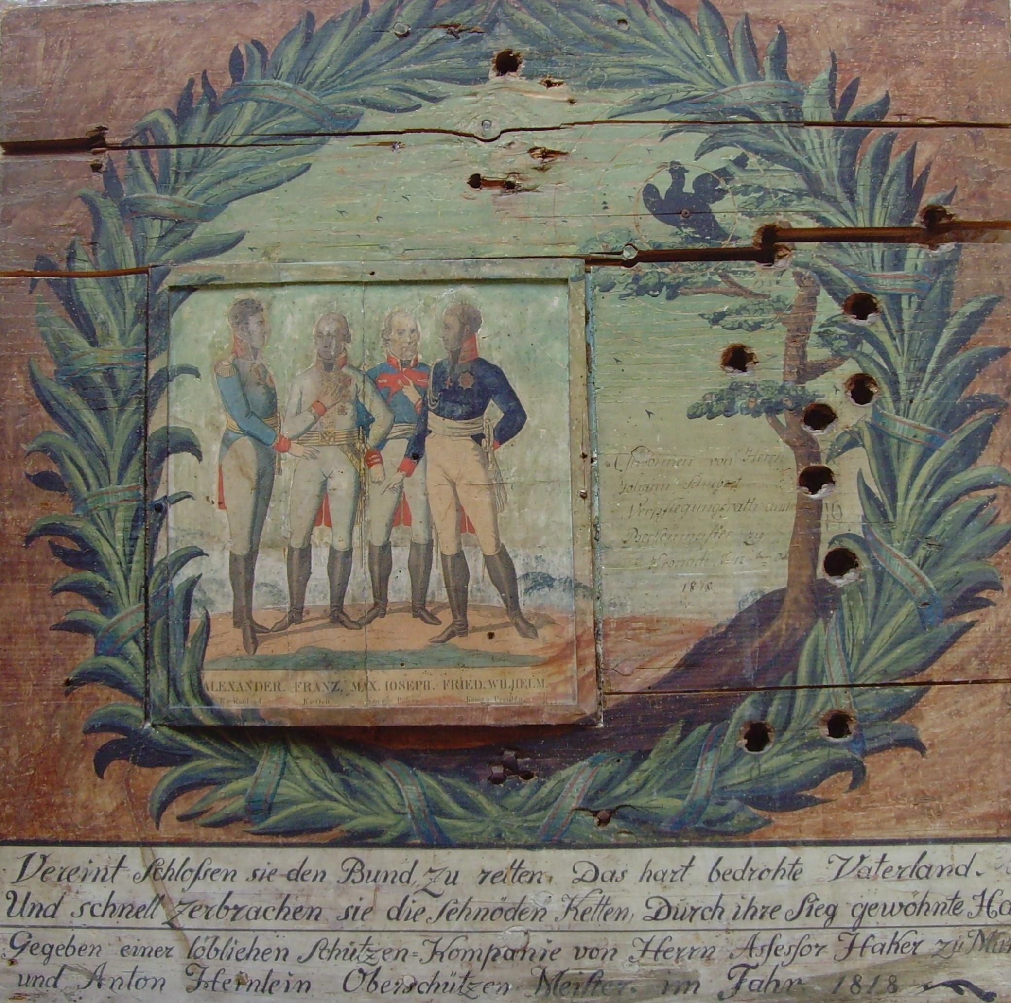Scheibe Kronach Monarchen, 1818