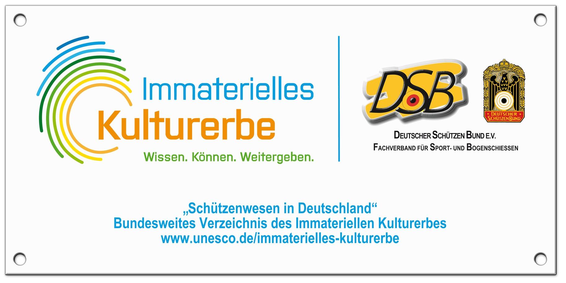"Acrylglasschild ""Immaterielles Kulturerbe Schützenwesen"""