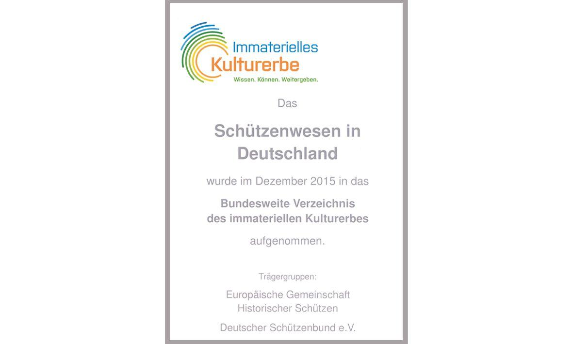Urkunde Immaterielles Kulturerbe