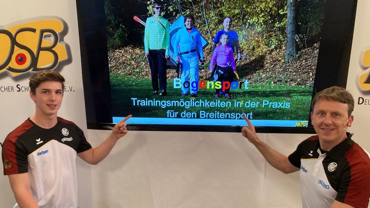 """Foto: DSB / Jonathan Vetter und Oliver Haidn informierten und unterhielten zwei Stunden lang zum Thema """"Trainingsmöglichkeiten in der Praxis für den Breitensport""""."""
