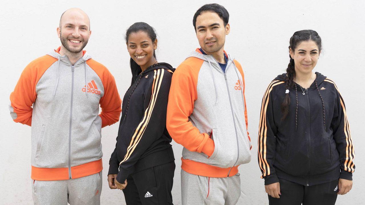 Foto: Olympic Channel / Zu Gast in Wiesbaden v.l.: Niccolo Campriani, Luna Solomon, Mahdi Yovari und Khaoula Sellami.