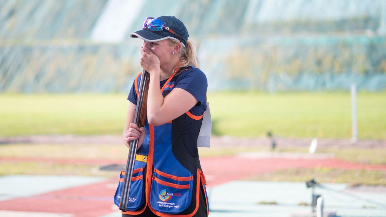 Bild: DSB / Valentina Umhöfer konnte ihr Glück nach dem Sieg im Skeet-Finale der Frauen kaum fassen.