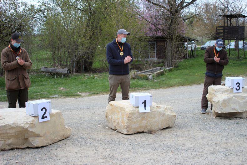 Foto: Martina Brandes / Alexander Thies (Mitte) gewann zwei DM-Titel, Platz zwei bei den Herren ging an Johannes Kesselstadt vor Rico Wollschläger.