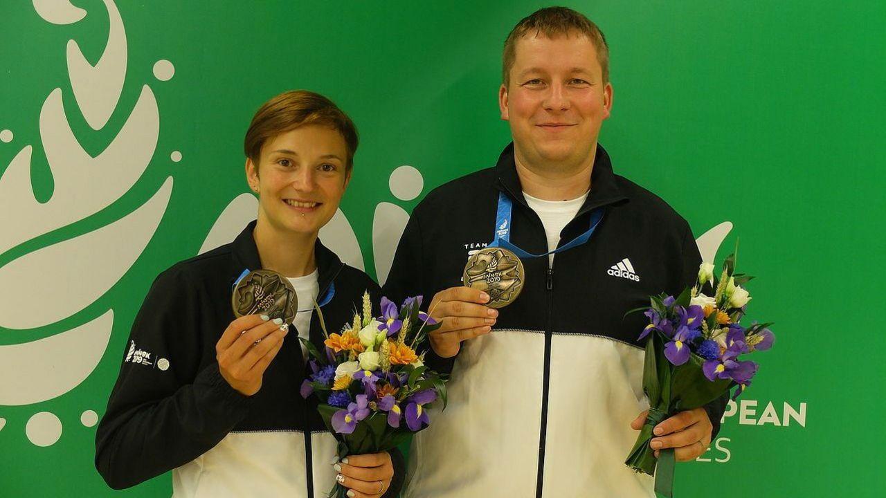 Foto: Team Deutschland / Sandra und Christian Reitz holten Bronze im Mixed-Wettbewerb mit der Luftpistole.