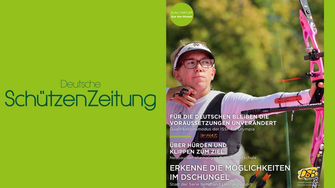 Foto: DSZ / Elisa Tartler ziert die Titelseite der neuesten Ausgabe der Deutschen SchützenZeitung.