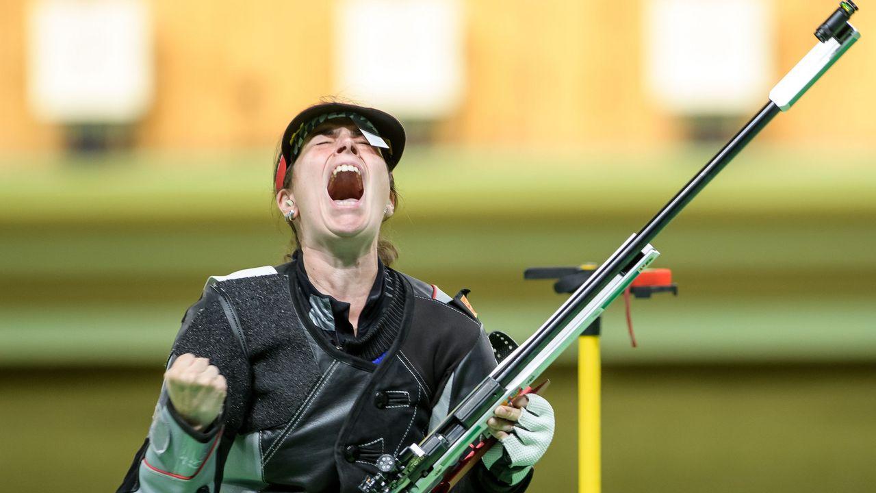 Bild: ISSF / Ein Schrei der Befreiung als Barbara Engleder in Rio ihr Ziel erreicht hatte.
