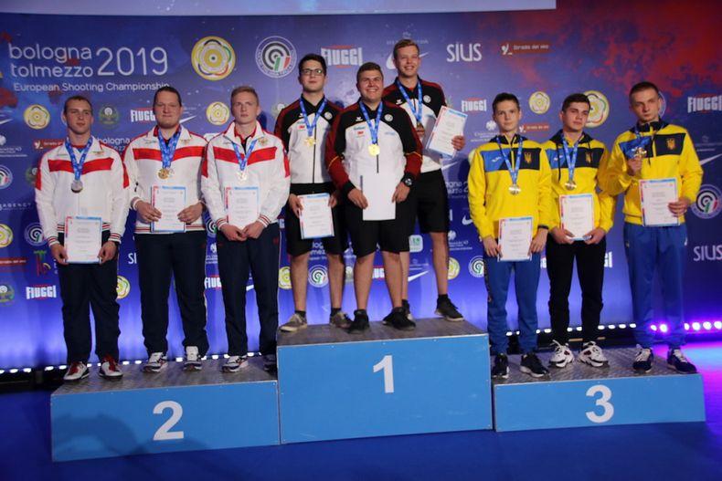 Foto: ESC / Gold für die Schnellfeuer-Junioren mit Florian Peter, Stefan Holl und Christoph Lutz.