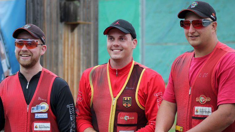 Foto: DSB / Sieht so das Skeet-Trio für die EM aus? Nach Teil 1 der EM-Qualifikation liegen Felix Haase (4. Platz), Vincent Haaga (1. Platz) und Tilo Schreier (2. Platz) gut im Rennen.