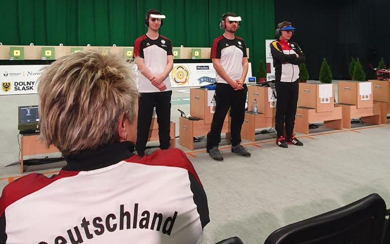 Foto: DSB / Robin Walter, Kevin Venta und Michael Schwald verpassten knapp die Bronzemedaille gegen Serbien.