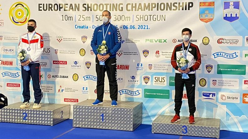 Foto: DSB / EM-Bronze für Robin Walter hinter dem Russen Vadim Jukhametyanov und dem Slowaken Juraj Tuzinsky.