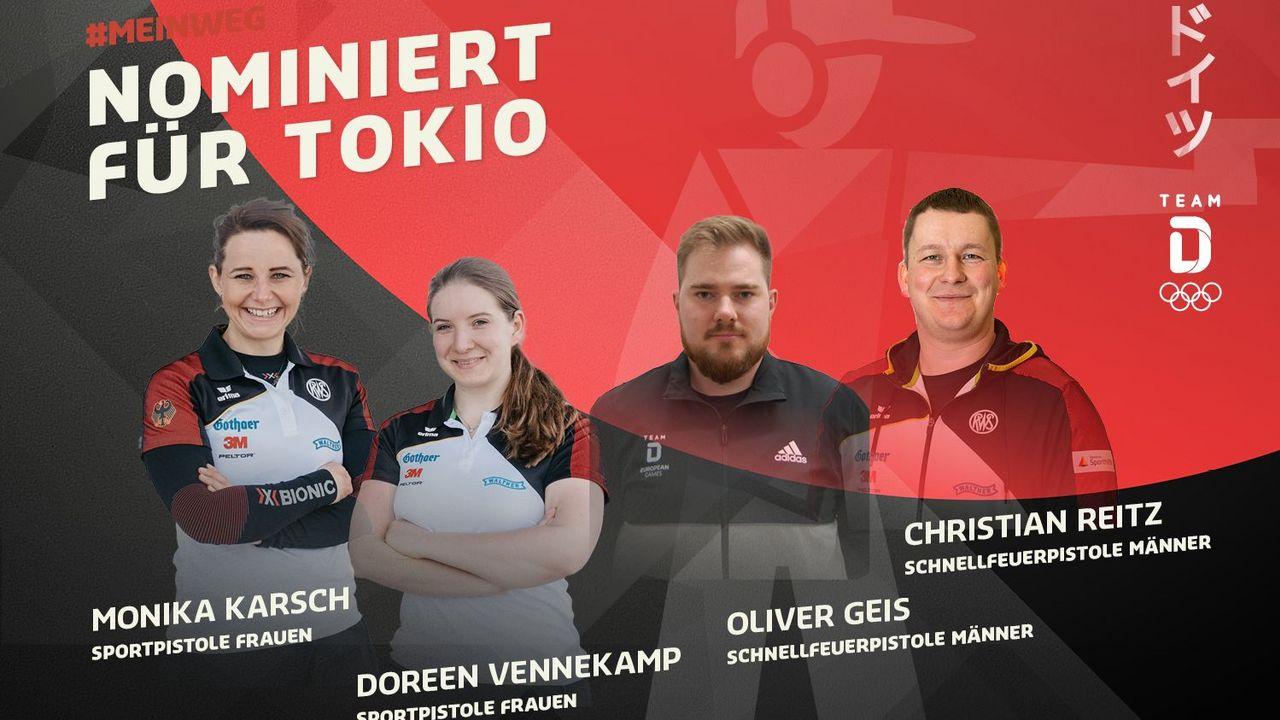 Foto: DOSB / Seit heute sicher in Tokio dabei: Monika Karsch, Doreen Vennekamp, Oliver Geis und Christian Reitz.