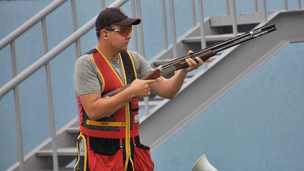 Foto: DSB / Sven Korte liegt nach Teil eins der Skeet-Qualifikation auf Finalkurs.