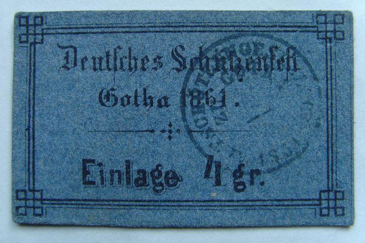 Schützenfest Gotha Einlagekarte, 1861
