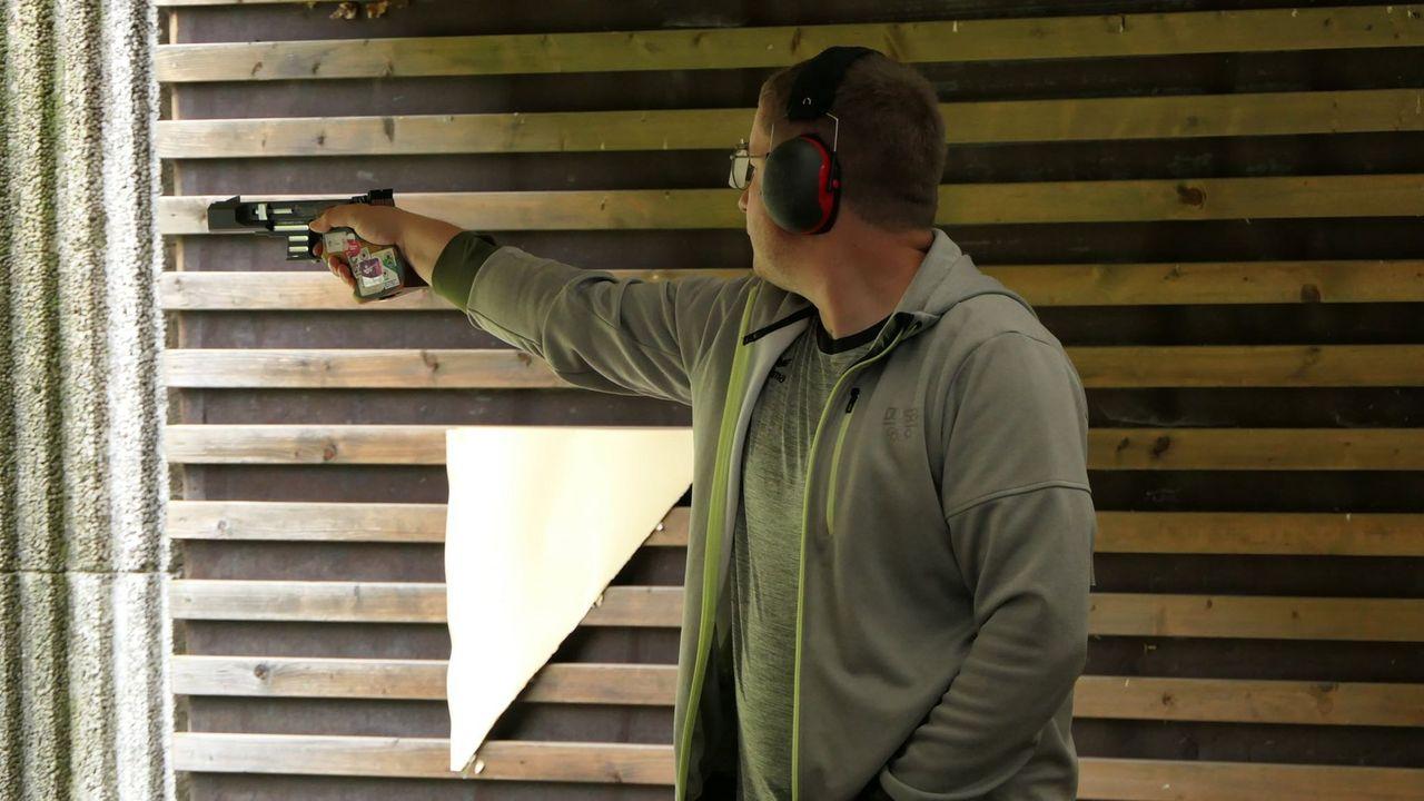 Foto: DSB / Nach dem Titel mit der Luftpistole sicherte sich Christian Reitz auch den mit der Schnellfeuerpistole.