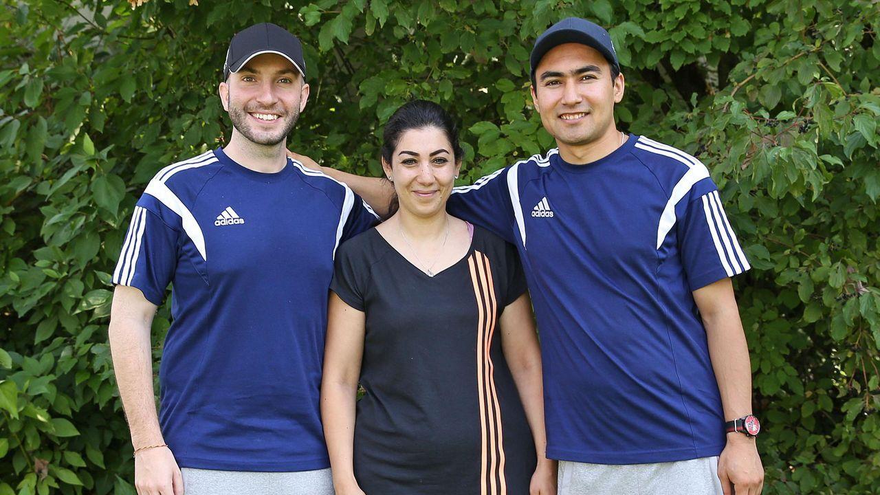Foto: DSB / Im vergangenen Jahr bei der DM in München und 2021 hoffentlich in Tokio (v.l.): Niccolo Campriani, Khaoula und Mahdi.