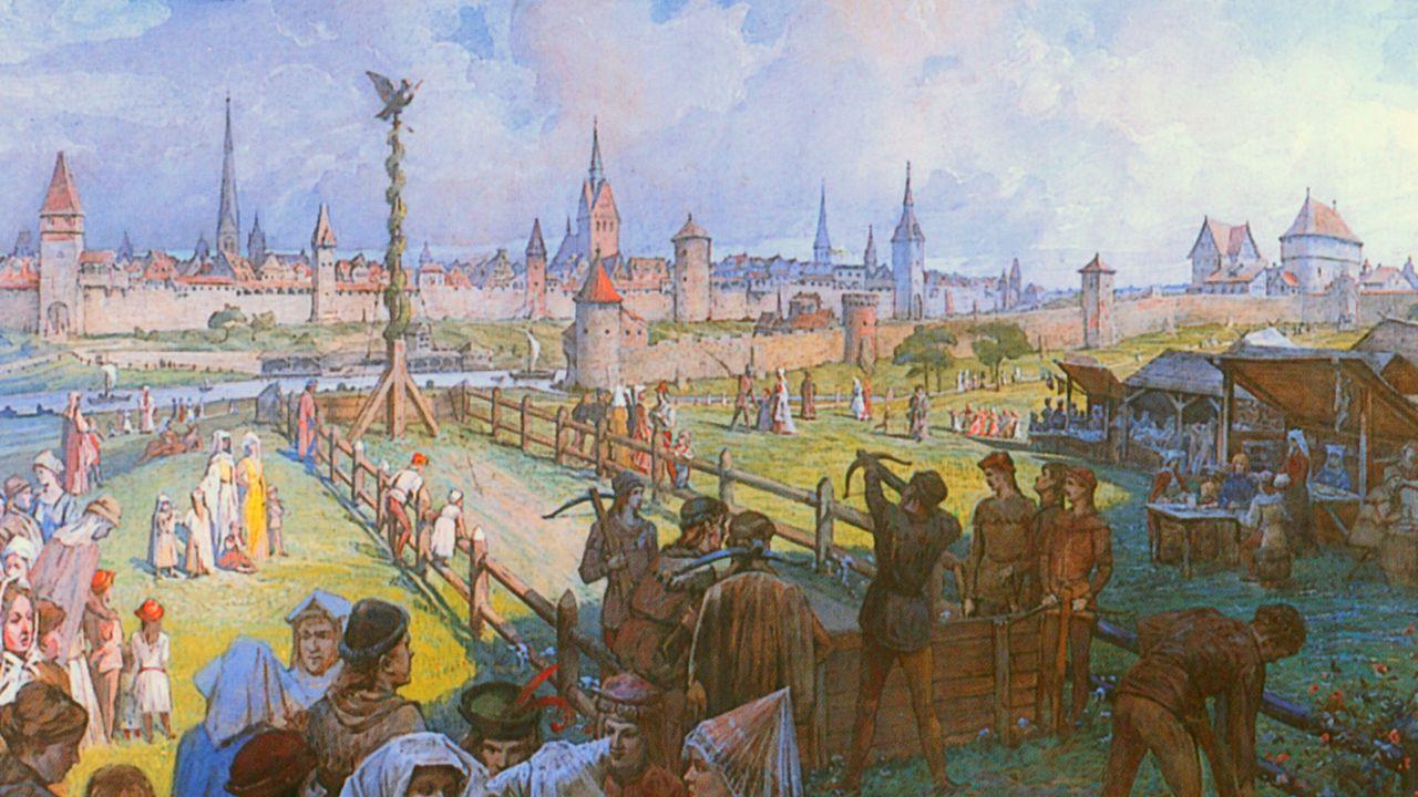Bild: DSB Archiv / Vogelschießen in Hannover im 16. Jahrhundert.