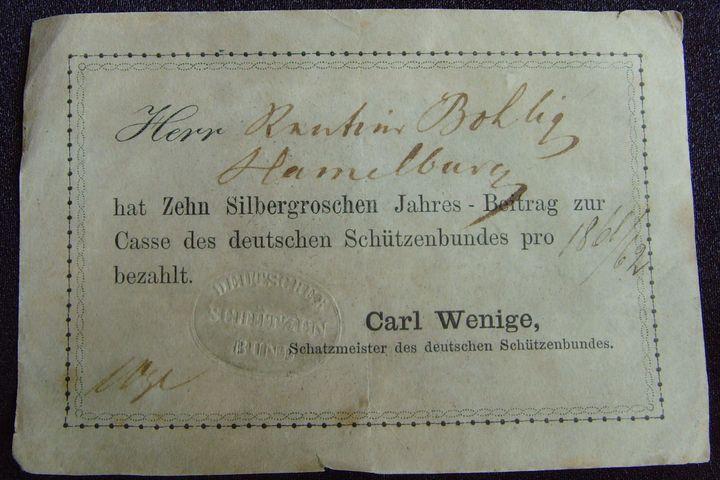 Beitragskarte 1861-62