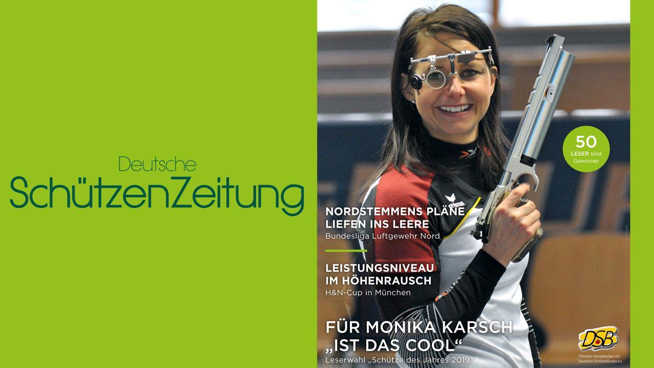 Foto: DSZ / Eine strahlende Monika Karsch ziert den Titel der neuesten Ausgabe der Deutschen SchützenZeitung.