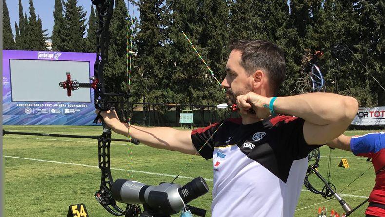 Foto: World Archery / Marcus Laube bei seinem letzten internationalen Auftritt im April 2021 in Antalya.