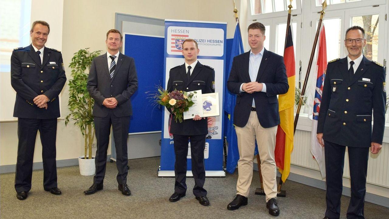 Foto: DPSK / v.l. Ralf Flohr, Andreas Rhöner, Aaron Sauter, Staatssekretär Dr. Heck, Volker Pfeiffer.