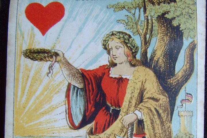 Spielkarte Herzdame, 1862