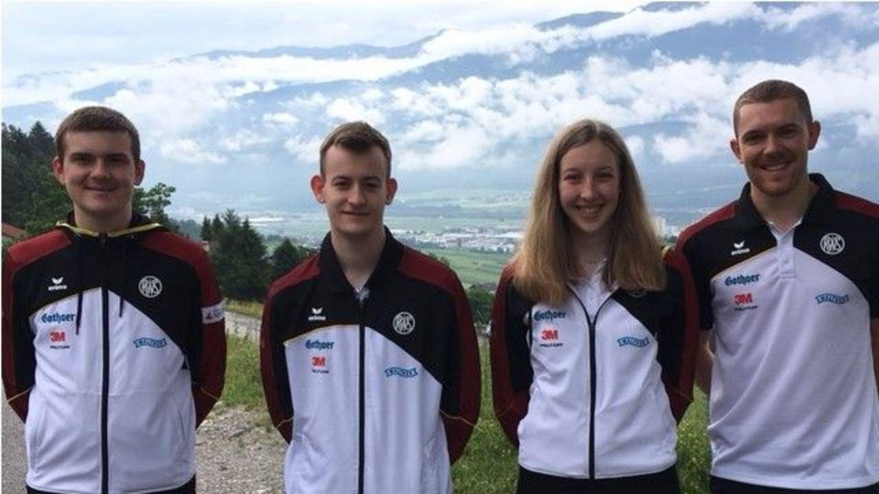 Foto: DSB / Das DSB-Quartett in Innsbruck v.l.: Max Ohlenburger, Marc Hülsmann, Lea Ruppel und Maximilian Dallinger.