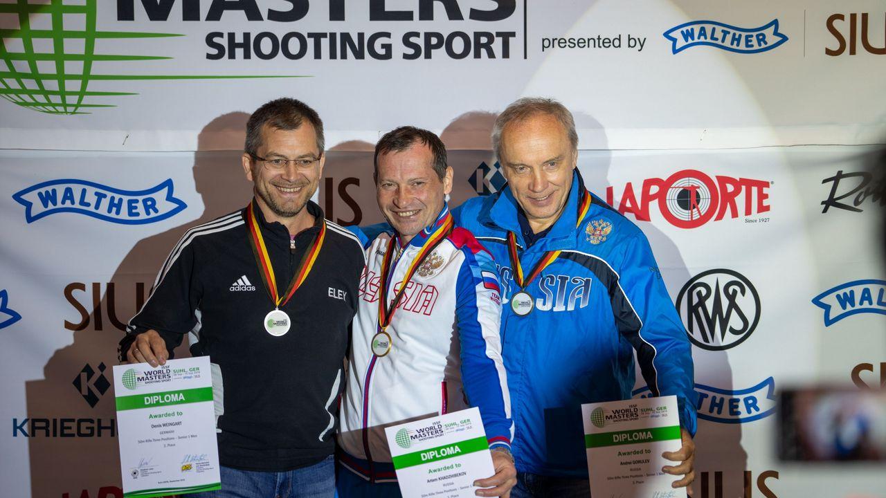 Foto: Jürgen Reber / Luftgewehr-Olympiasieger Artem Khadjibekov setzte sich im Dreistellungskampf vor Denis Weingart und seinem Landsmann Andrei Gorulev durch.