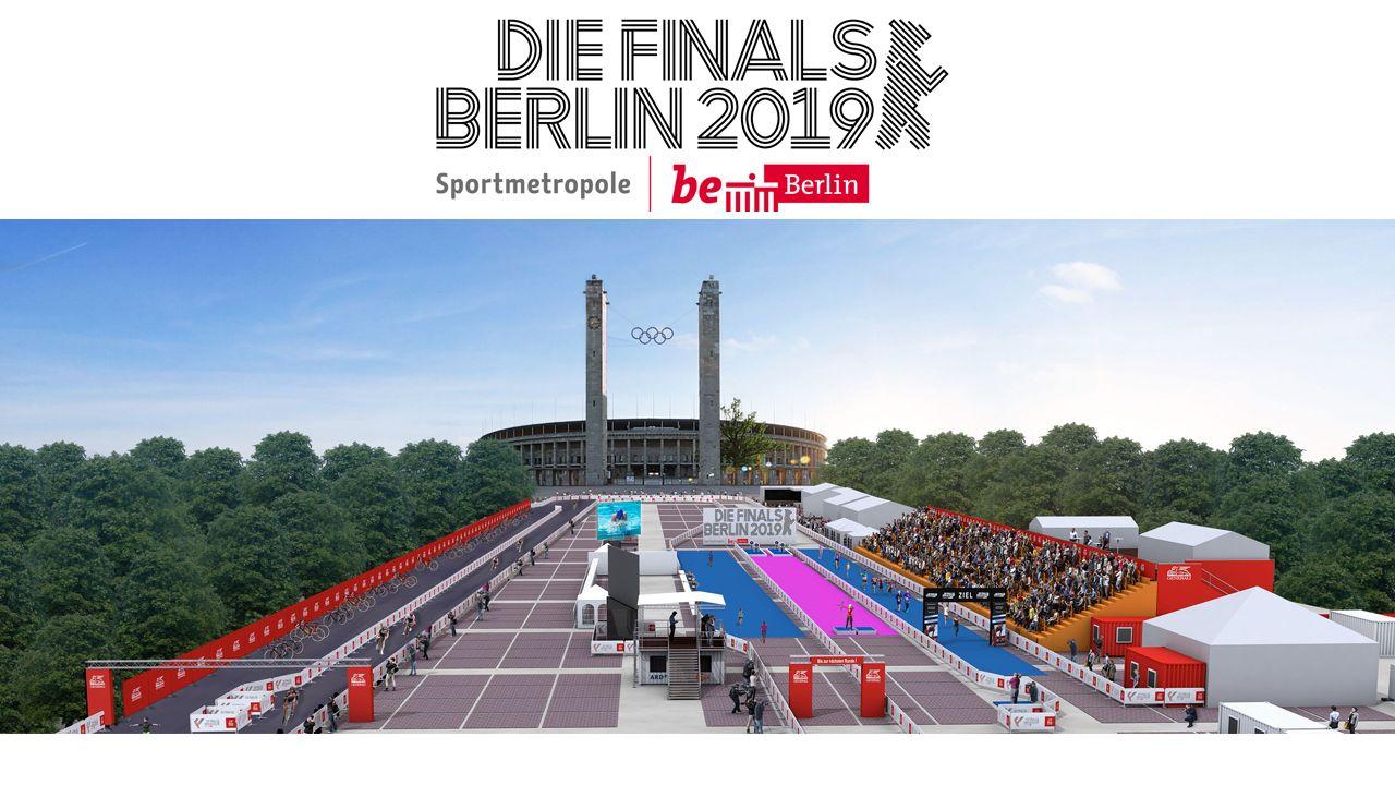 Foto: Unikat PR GmbH / Vor dem Olympiastadion Berlin werden die Finals in den Sportarten Triathlon, Moderner Fünfkampf und Bogensport präsentiert.